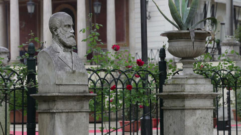 Statue and flower pot surrounding red flowers on fence Footage