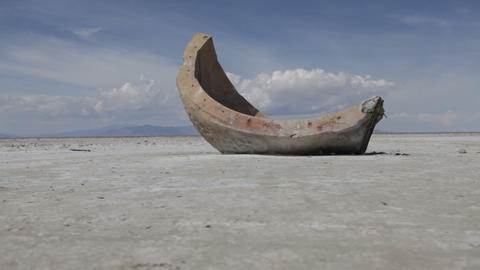 Slider shot of a strange cement object at the Utah Salt Flats Footage