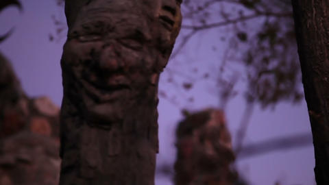 Wooden face carved in post by stone wall Footage