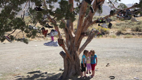 Girls playing by tree with shoes in it Footage