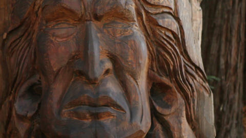 Carved Native American Statue Footage