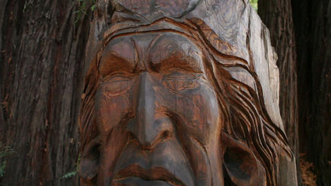 Carved Native American Statue (Vertical Shot) Footage