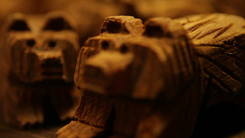 Rustic Carved Dog Figurines Footage