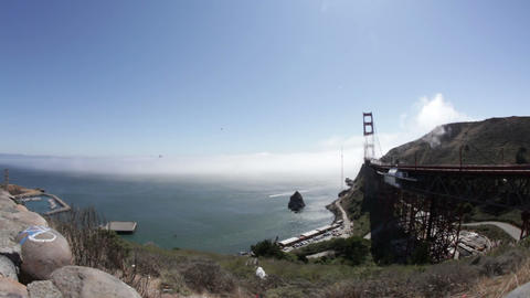 Time-lapse of mist rolling over the Golden Gate Bridge Footage