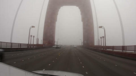 Driving Across the Golden Gate Bridge in Fog Footage