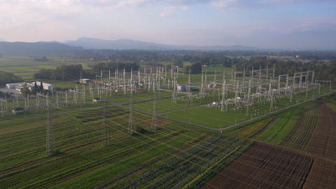Aerial - Simulating crane shot of power substation in a countryside Footage