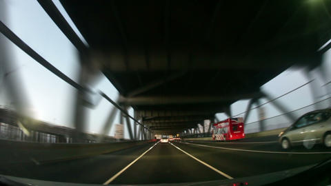 Slow-motion shot driving the Bay Bridge, San Francisco Footage