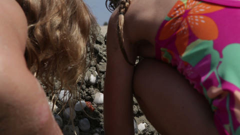 Placing Shells on a Sand Castle Footage
