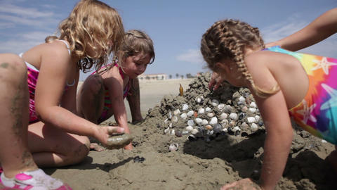 Playing by the Sand Castle Footage