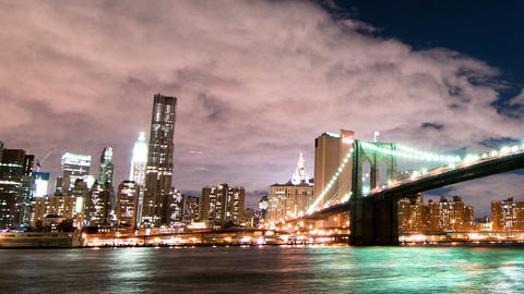 Brooklyn Bridge and the New York City skyline time lapse. Cropped Footage