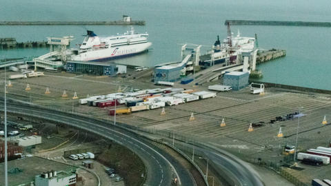 Time-lapse of the docks at Dover, England. Cropped Footage