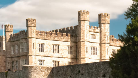 Panning time-lapse of exterior of Leeds Castle and moat in England Footage
