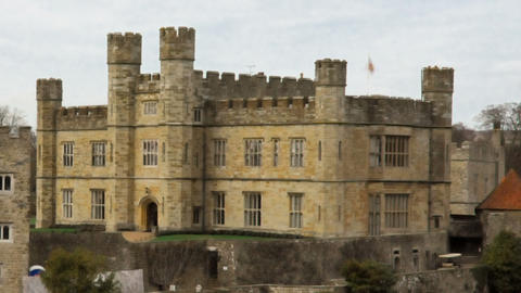 Time-lapse of Leeds Castle by the lake. Cropped Footage