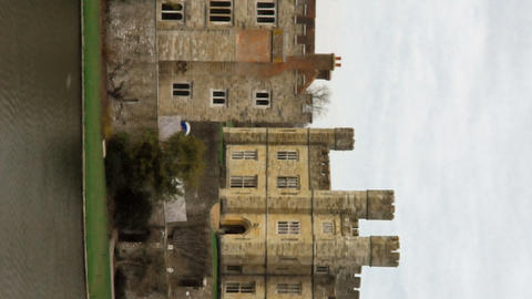 Vertical time-lapse of Leeds Castle by the lake Footage