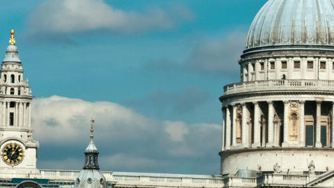 Panning time-lapse of the top of St. Paul's Cathedral in London Footage