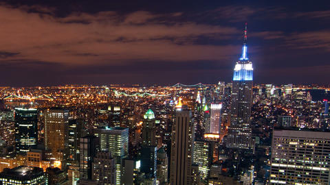 Panning shot of New York time-lapse from the Rockefeller building Footage