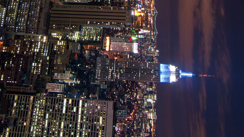 Vertical shot of New York time-lapse from the Rockefeller building Footage