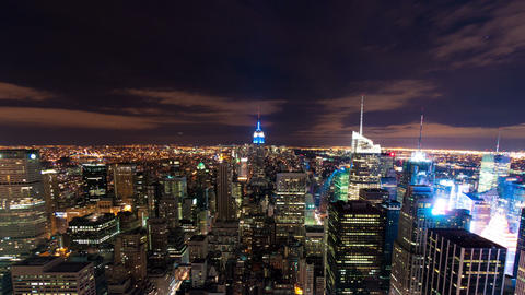 Panning shot of New York cityscape time-lapse from the Rockefeller building Footage