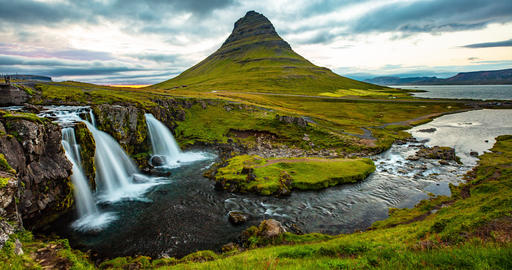 Iceland timelapse photography of waterfall mountain Kirkjufellsfoss, Kirkjufell Footage