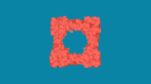 Behind the squares appears the symbol vector square. In - Out. Alpha channel Animation
