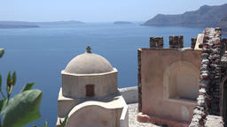 Greece Aegean Sea Cyclades Santorini Oia panorama sea view with Greek church Footage