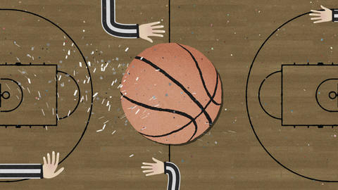 Long Hand Assembling a Basketball Cutout Retro Style with Confetti Archivo
