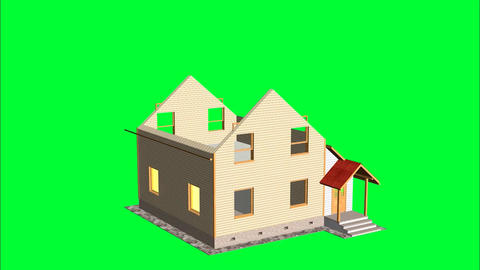 Time-lapse 3d animation showing a process of building of the house. Green screen Animation