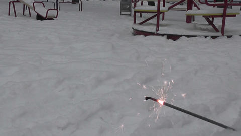 spark in winter yard Stock Video Footage