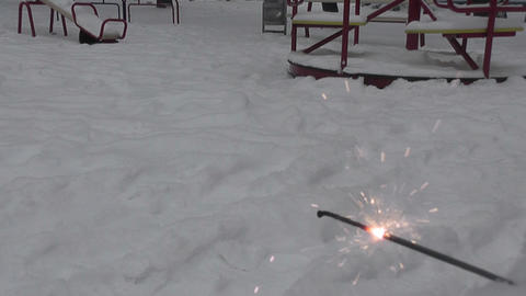 spark in winter yard Footage