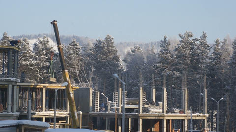 Construction Site In Winter Day 02 Stock Video Footage