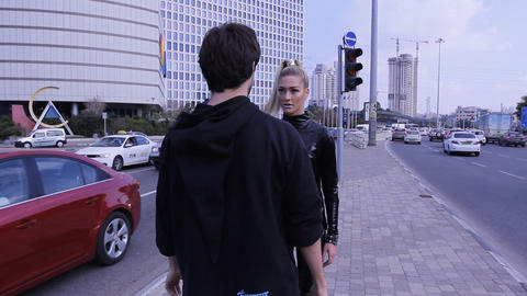 sexy couple dancers dance sexual robotic erotic fashion street dancing Footage