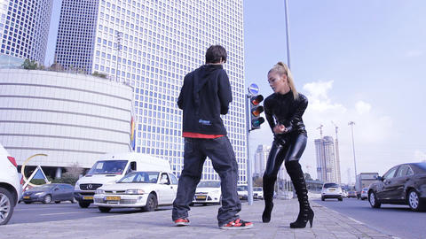 sexy couple dancers dance sexual robotic erotic fashion... Stock Video Footage