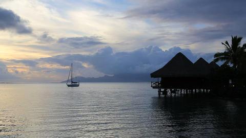 Tahiti sunset Stock Video Footage