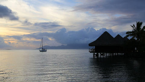 Tahiti sunset Stock Video Footage