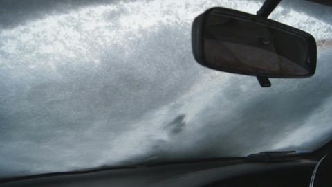 Windshield Wipers Clean The Snow Stock Video Footage