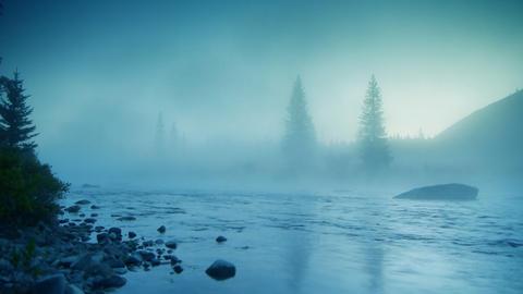 Foggy river HD LOOP Stock Video Footage