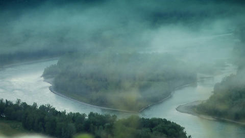 Mountain river and fog Stock Video Footage