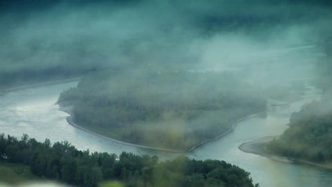 Mountain river and fog Footage