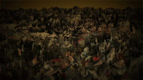 City in ruins after war Stock Video Footage