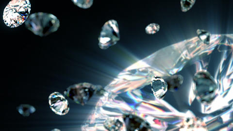 slowly falling diamonds, beautiful background Animation