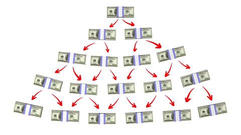 money pyramid (version with dollars) Stock Video Footage