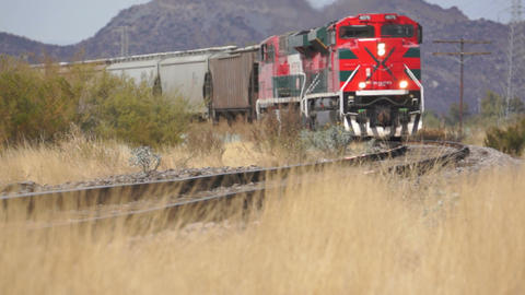 Railroad Train On The Tracks stock footage