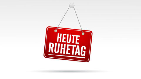Heute Ruhetag Store Sign Stock Video Footage