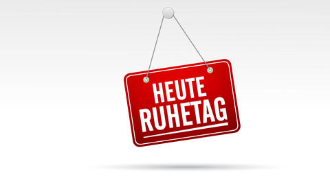 Heute Ruhetag Store Sign stock footage