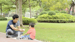 Father and Son Picnic Stock Video Footage