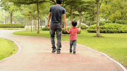 Father and Son Walking Together Footage