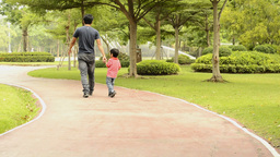 Father and Son Walking Together Stock Video Footage
