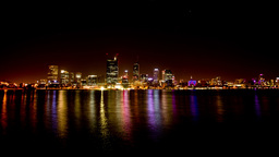 Perth City Night Lights Time Lapse Footage