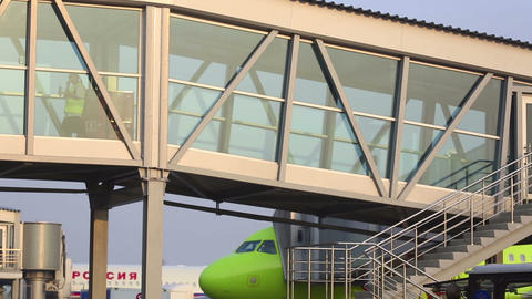 Tolmachevo airport Stock Video Footage