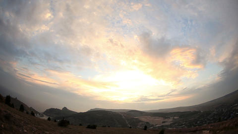sunset in the mountains. Balaklava, Crimea, Ukraine Stock Video Footage